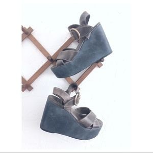 FREEBIRD Leather Kara Blue & Gray Platforms 70s